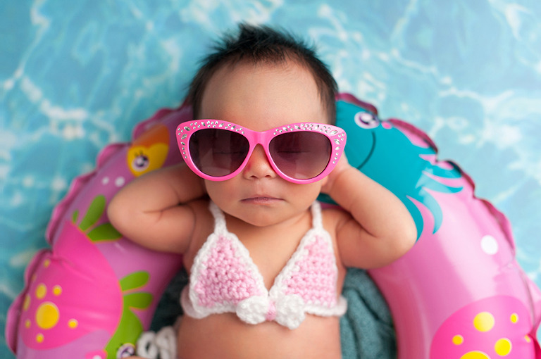 Newborn Baby Girl Wearing Bikini