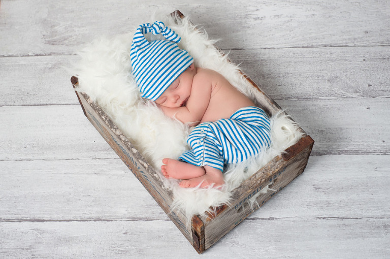 Newborn Baby Boy in Crate