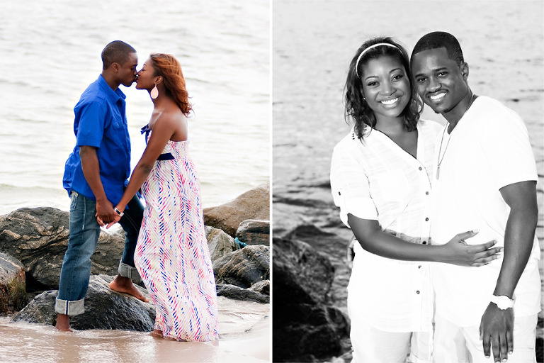 Engaged Couple Standing on a Jetty
