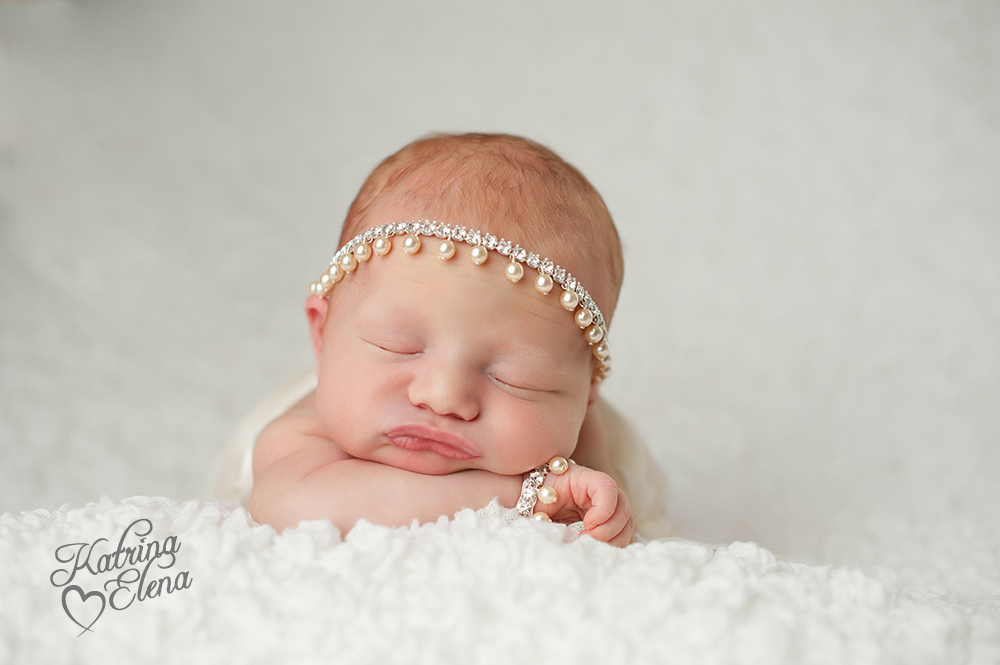 Newborn Baby Girl with Pearl Headband