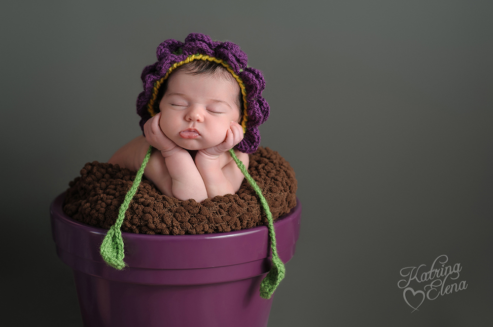 Newborn Girl with Flower Bonnet