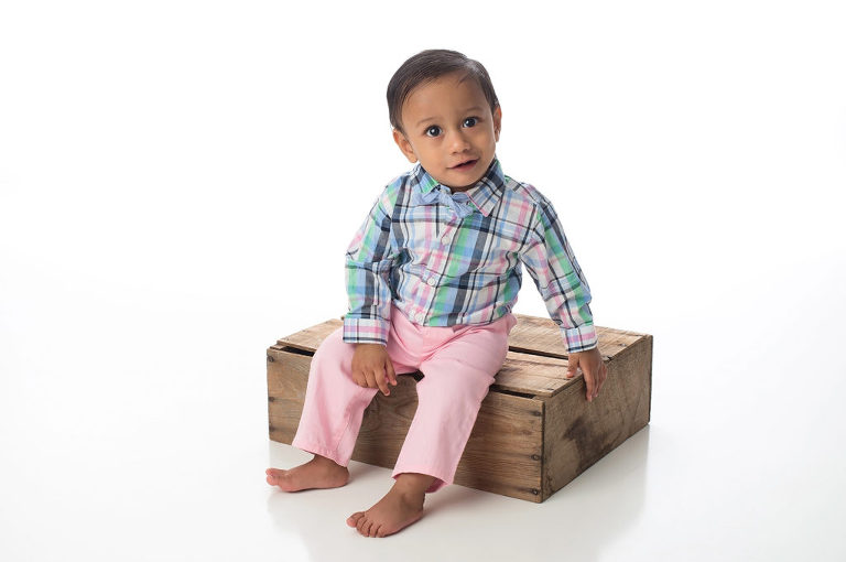 Toddler Boy on Rustic Crate